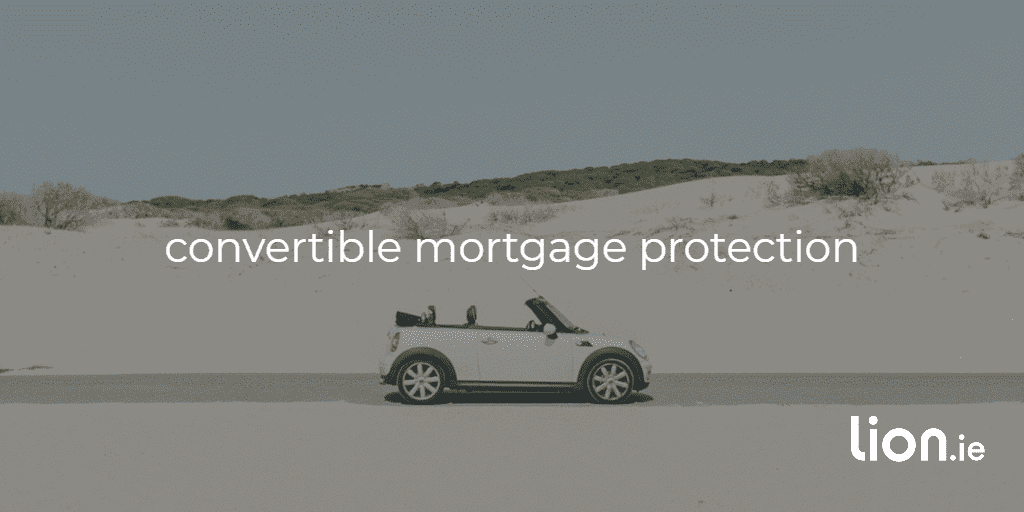convertible mortgage protection text on image of a convertible VW beetle