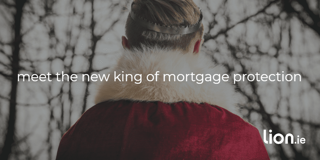 the new king of mortgage protection text on image of a king in red robes wearing a crown with face hidden