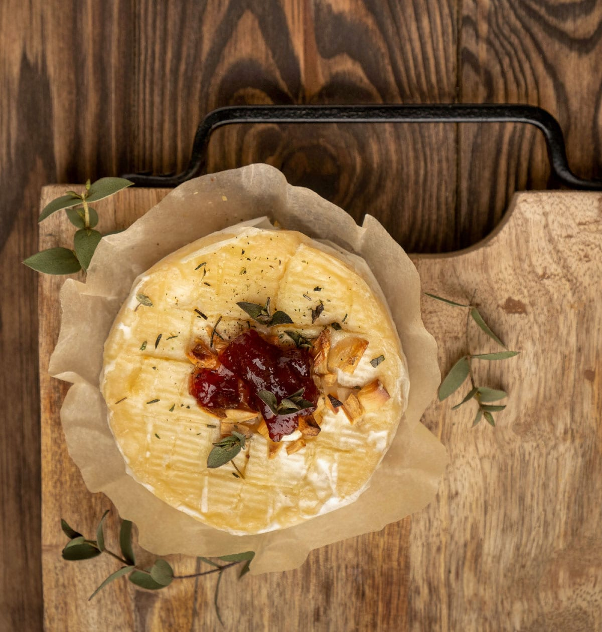 Baked,Camembert,Cheese,,Wooden,Background,,Copy,Space,,Top,View