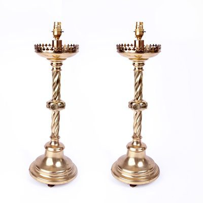 A Pair of Brass Gothic Lamps