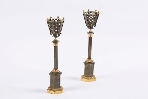5901 - Early 19th Century Regency Pair of Bronze and Gilt Table Lamps