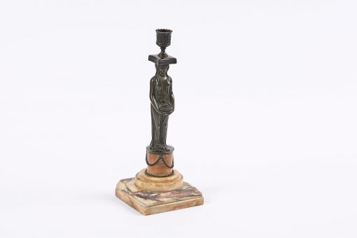 5914 - Early 19th Century Bronze Figural Candlestick