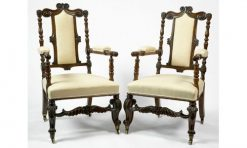 19th Century Pair of 'Tudor Style' Armchairs