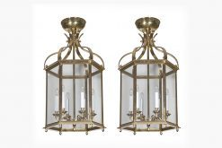7383 - Pair of Brass Hexagonal Lanterns