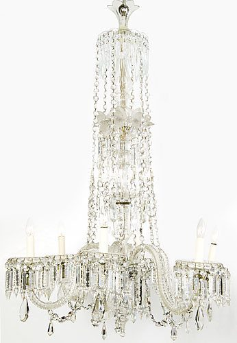 18th Century George III Six Branch Crystal Glass Chandelier
