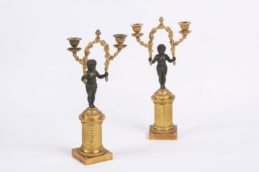 7898 - Early 19th Century English Regency Pair of Figural Bronze and Ormolu Two Branch Candelabra