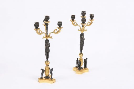 7899 - Early 19th Century French Empire Pair of Bronze and Gilt Candelabra