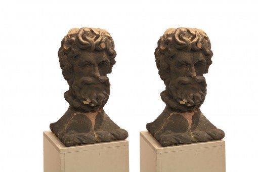 Early 19th Century Pair of Carved Basalt Stone Heads