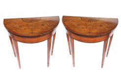 Early 19th Century George III Pair of Satinwood Demilune Card Tables