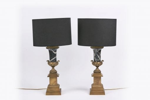 9186 - 19th Century Brass and Marble Table Lamps