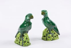 9198 - 19th Century Pair of Pottery Chinese Parrots