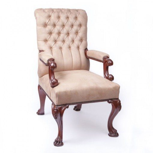 Mid 19th Century Open Button Back Armchair