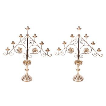 Early 19th Century Regency Pair of Brass Candle Stands