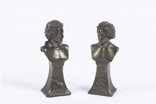 9330 - Pair of Art Nouveau Bronze Figures of Beethoven and Mozart