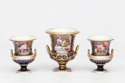 Early 19th Century Crown Derby Porcelain Trio of Twin Handled Vases