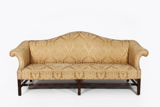 Early 19th Century, Camelback, Sofa, Upholstered, O'Sullivan Antiques, Antique, Dublin; Pierced Stretcher, Marlborough Legs, Couch, Sofa, Seating, Seats, Three Seater;