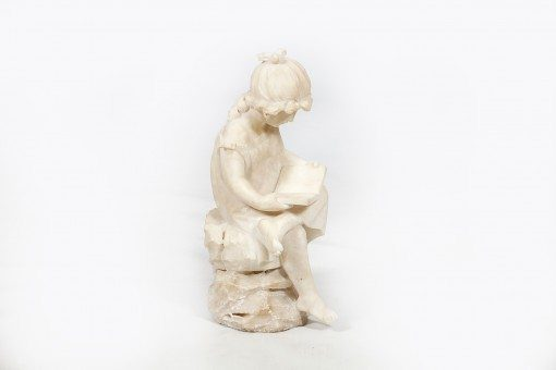 19th Century White Marble Statue of a Seated Young Girl Reading