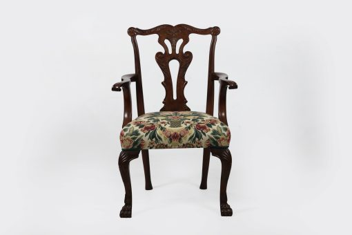 19th Century Single Chippendale Style Irish Georgian Mahogany Carver