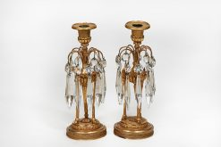 Early 19th Century Regency Pair of Ormolu and Glass Candlesticks