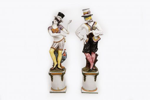 19th Century Pair of Large Ceramic Painted Statues on Plinths