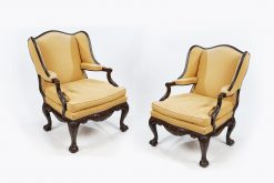 Early 19th Century George III Pair of 'Butler of Dublin' Mahogany Wing Back Armchairs