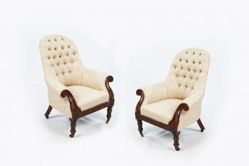 19th Century Pair of Round-back Upholstered Armchairs