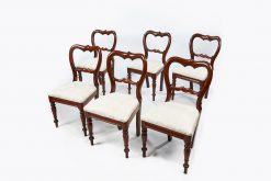 19th Century Set of Six Full Balloon Back Dining Chairs