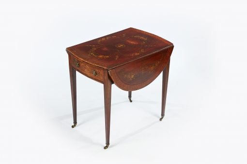 19th Century Mahogany and Rosewood Hand Painted Pembroke Table by Edward and Roberts, London