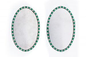 18th Century Pair of Irish Waterford George III Glass Oval Mirrors