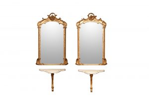 19th Century Pair of Carved Giltwood Mirrors