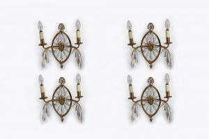 Early 19th Century Regency Set of Four Glass and Gilt Metal Wall Lights