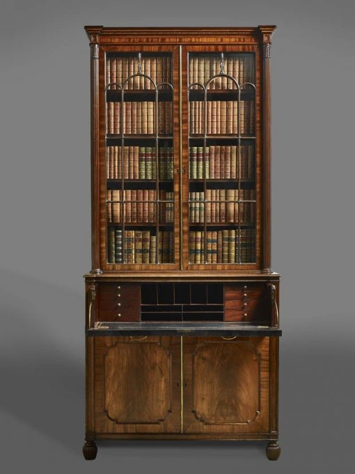 18th Century George III Mahogany Bureau Bookcase owned by Henry Grattan