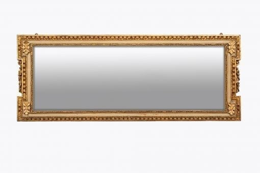 10056 - Early 18th Century George II Giltwood Neoclassical Overmantle Compartmental Mirror