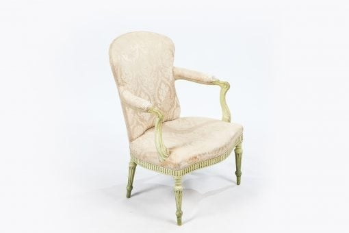 18th Century George III green painted salon armchair attributed to Thomas Chippendale
