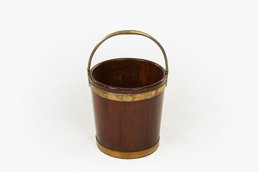 10246 - 18th Century George III Mahogany Brass Bound Peat Bucket