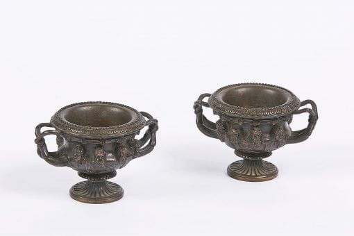 10034 - Early 19th Century Pair Empire-Revival of Miniature Bronze Tazza Urns