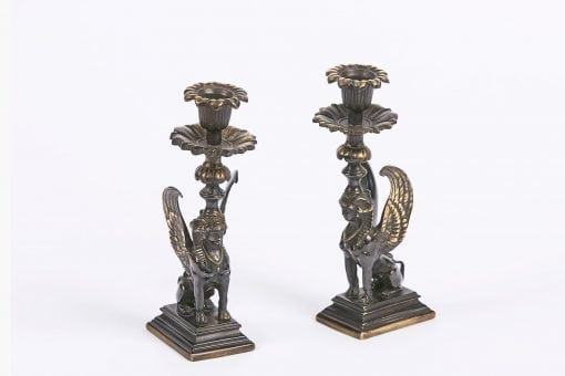 7758 - Early 19th Century Regency Pair of Bronze Candlesticks
