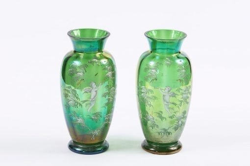 9867 - 19th Century Pair of Green Glass Vases after Mary Gregory