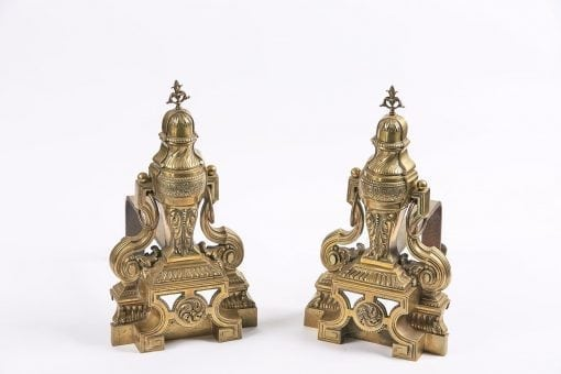 3315 - Early 19th Century Georgian Neoclassical Pair of Brass Fire Dogs