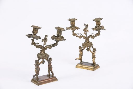 9358 - Early 19th Century Neoclassical Pair of Figural Bronze Two Branch Candelabra