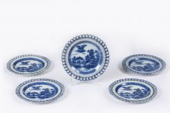 10164 - Late 18th Century English Set of Five Blue and White Porcelain Plates