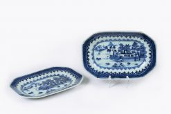 10169 - Mid 18th Century Qianlong Qung Dynasty Pair of Nanjing Porcelain Platters