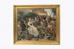 10326 - William Lee Hankey RWS., R.I., R.O.I., R.E.  (British, 1869 -1952) 'A market scene in Picardy'