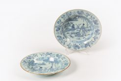10347 - 18th Century Bristol Delftware Pair of Blue and White Tin Glazed Plates