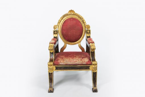 10375 - 19th Century Regency Simulated Rosewood and Giltwood Throne Chair