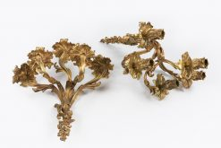 10385 - 19th Century Pair of Gilt Bronze Five Branch Candle Sconces