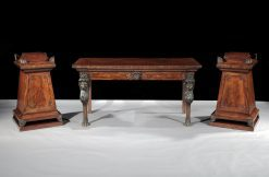 10451 - Early 19th Century Regency Sidetable with Matching Pair of Plinth Pedestals after Thomas Hope
