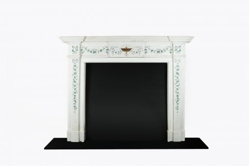 10479 - HOME/FIRE SURROUNDS 18th Century George III Irish Staturary White Marble and Scagliola Fire Surround after Pietro Bossi