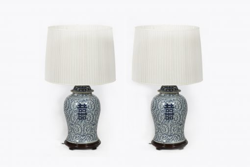 8121 - Late 19th Century Chinese Pair of Blue and White Porcelain Lamps