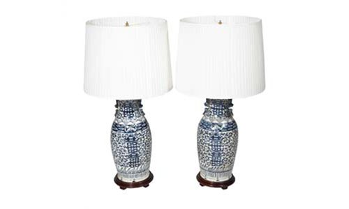 8125 - Mid 20th Century Chinese Pair of Blue and White Porcelain Lamps